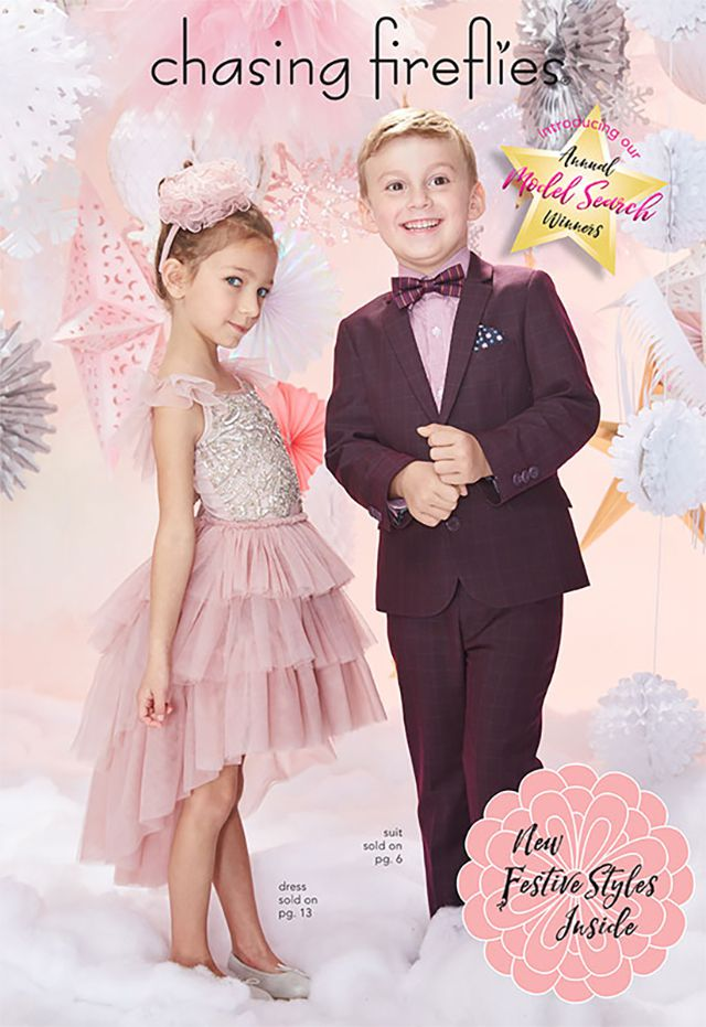 A boy and girl wearing formal wear on the cover of Chasing Fireflies catalog