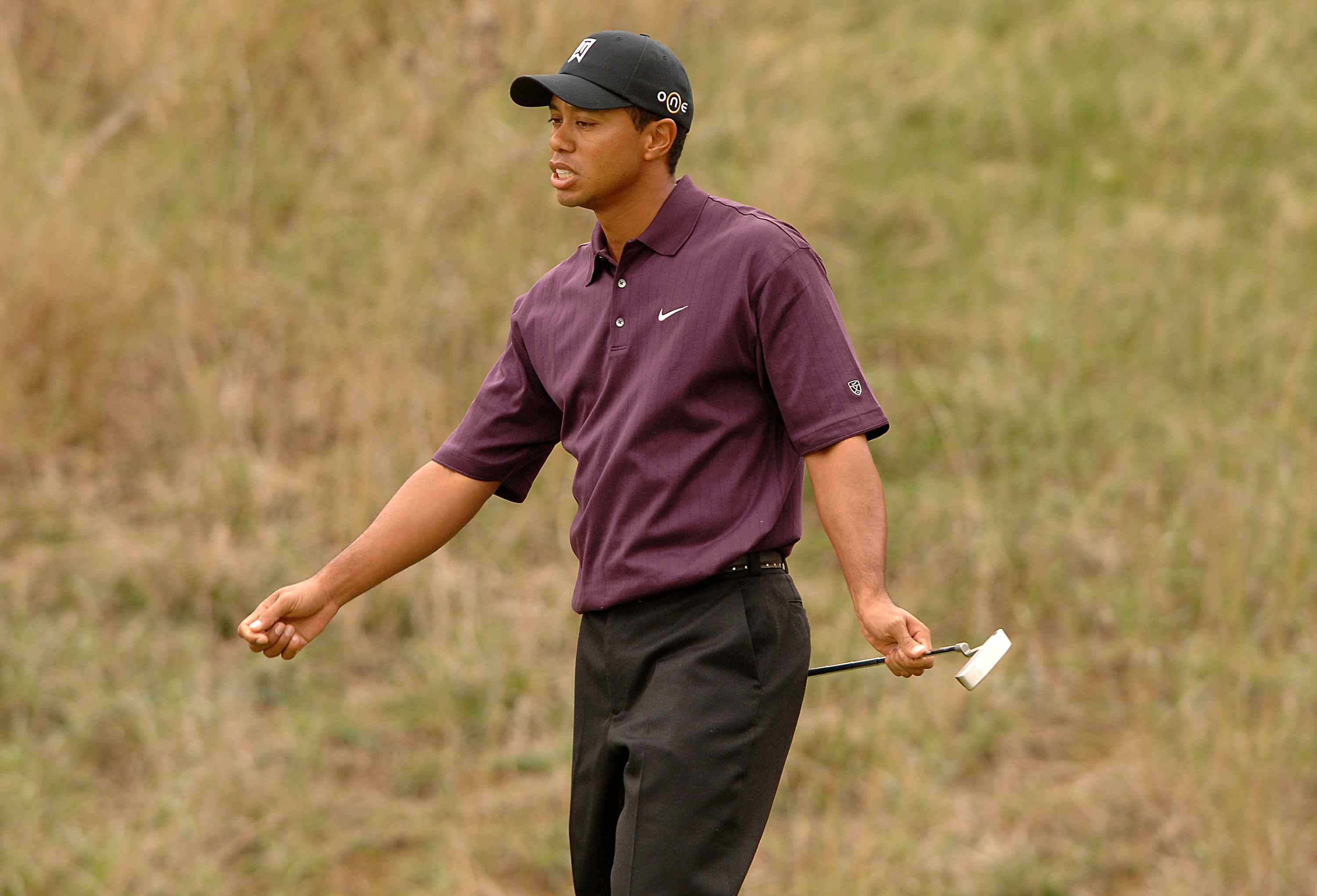 An angry Tiger Woods in 2005