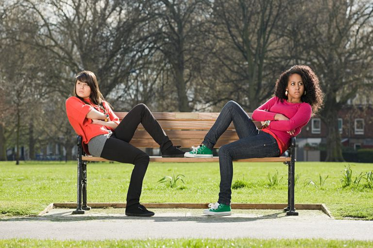 Two teenage girls arguing