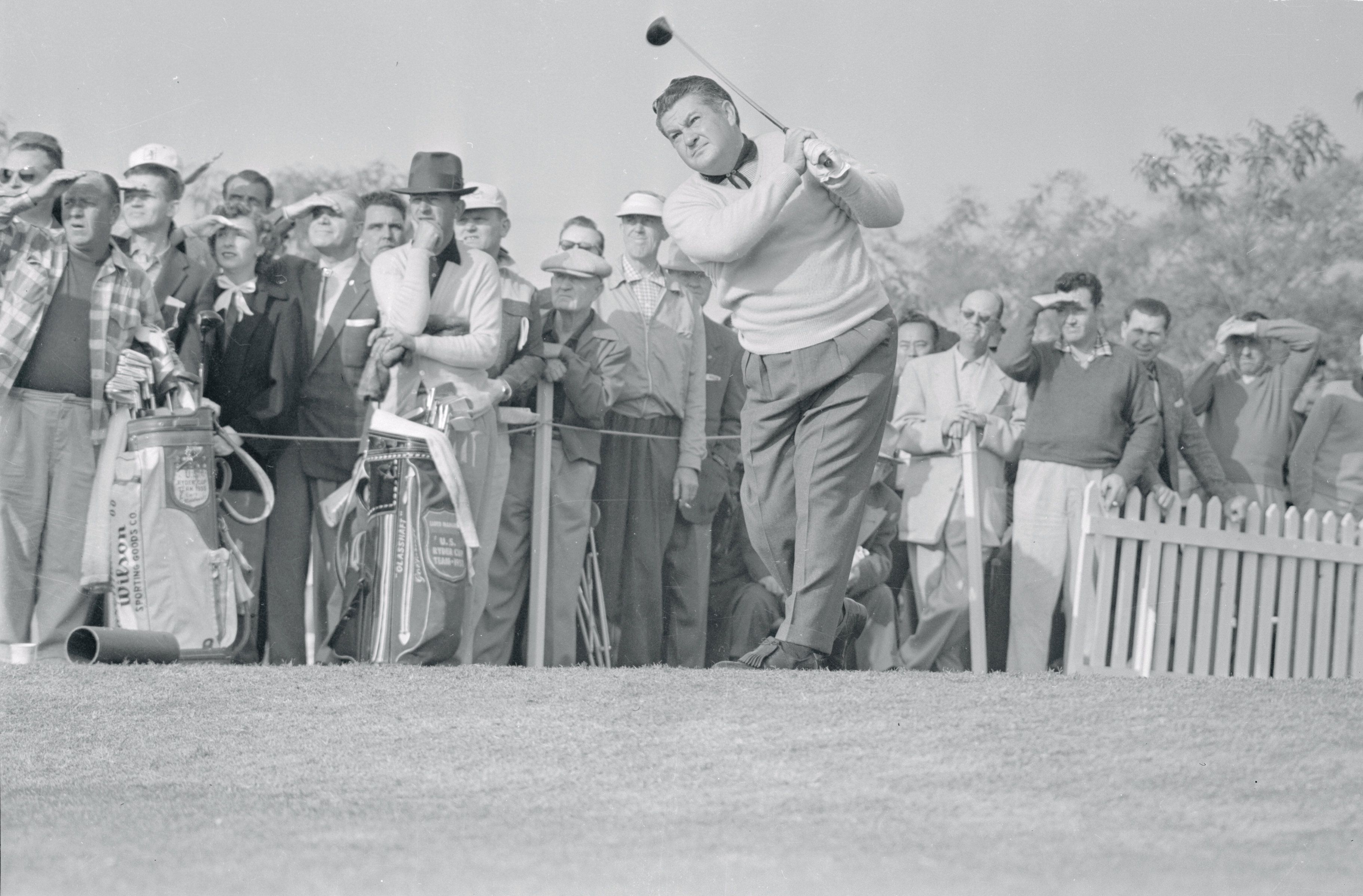 Ed 'Porky' Oliver driving during L.A. open.