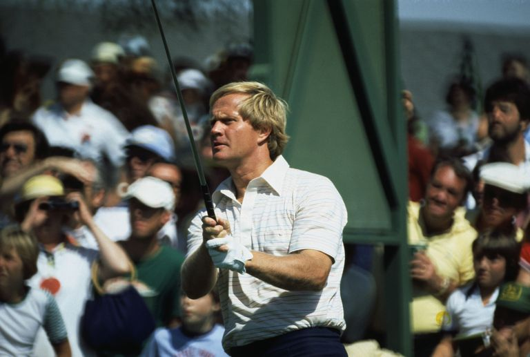 Jack Nicklaus tees off during a Masters practice round in 1978