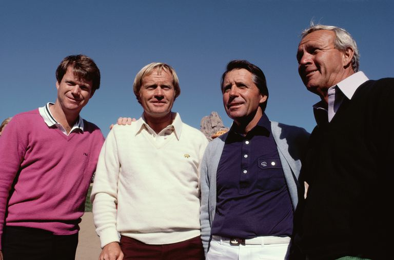 Tom Watson, Jack Nicklaus, Gary Player and Arnold Palmer in December 1983 at the original Skins Game