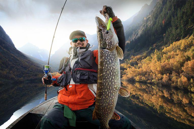 Fishing. Fisherman and Trophy Pike