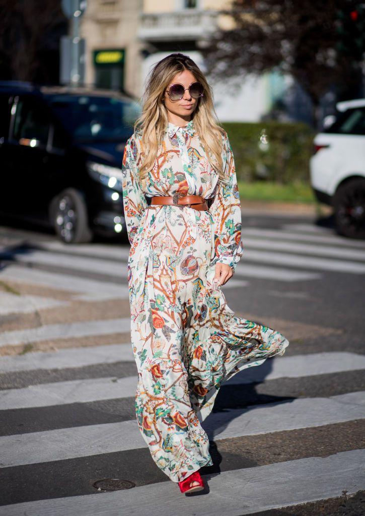 Woman wearing maxi dress with belt