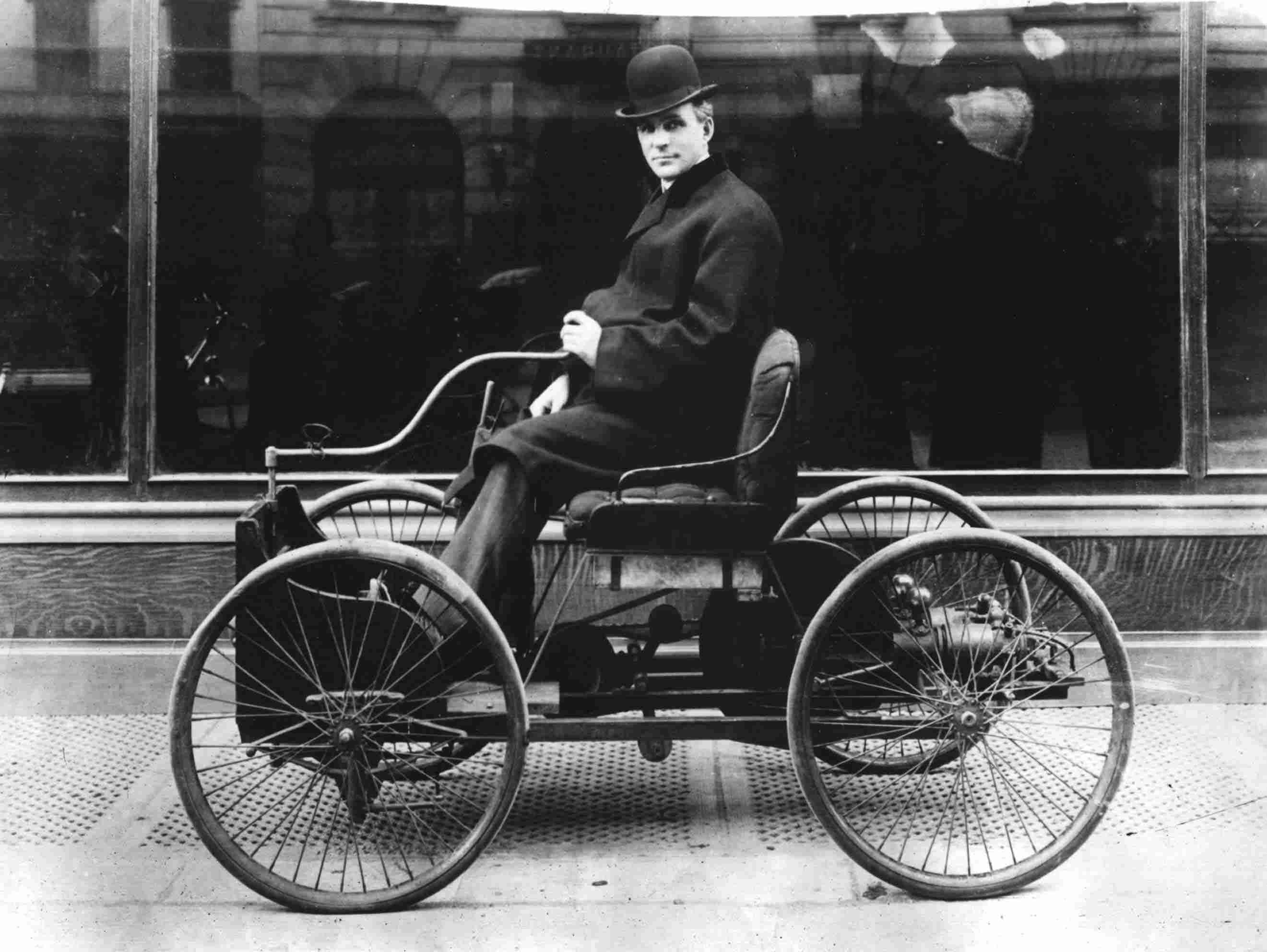 Henry Ford (1863-1947) american industrialist pioneer of american car industry driving his Quadricycle, 1896