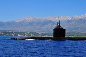 The Los Angeles-class attack submarine USS Annapolis SSN 760 in Souda Bay, Greece