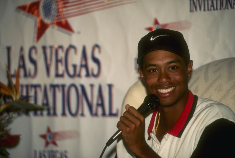 Tiger Woods speaks at the press conference after winning the 1996 Las Vegas Invitational
