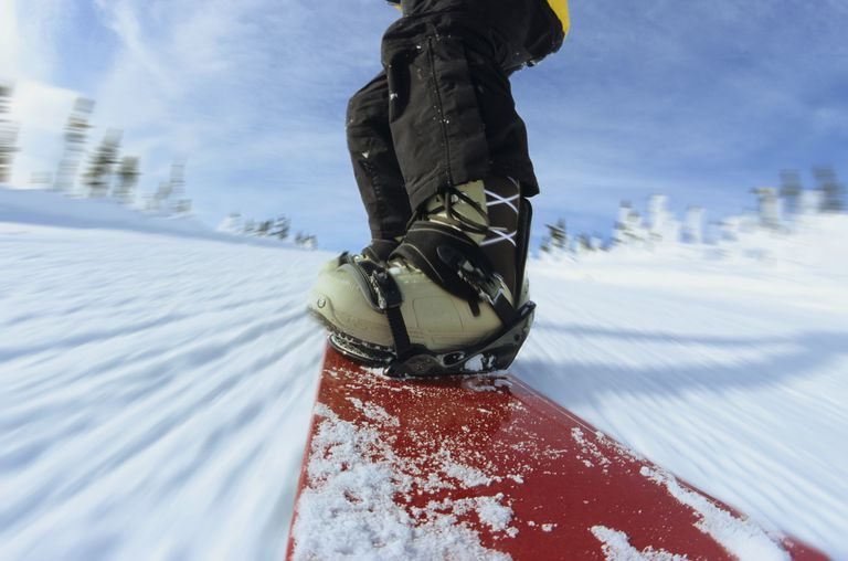 Close-up of snowboarder's feet