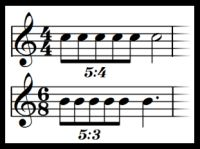 Quintuplets seen in piano music.