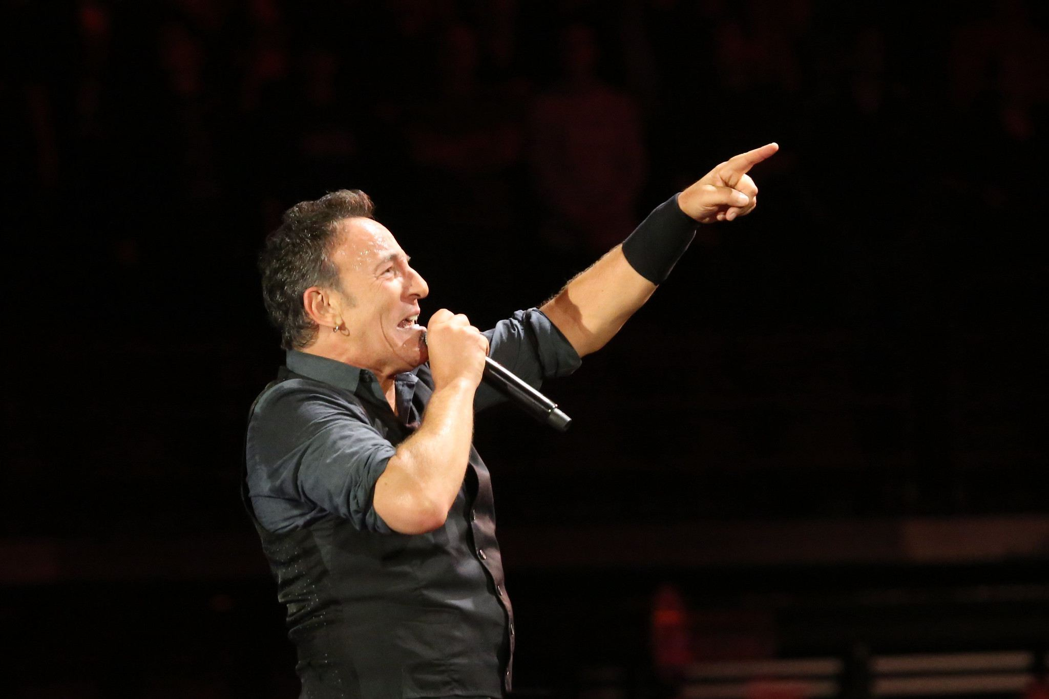 Bruce Springsteen in profile performing on a dark stage.