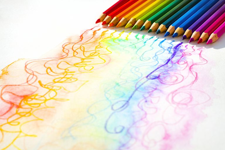 Rows of colored pencils and colored lines
