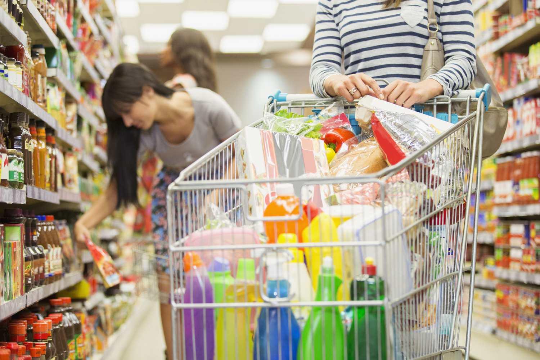 Full grocery basket.
