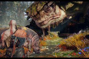 Kratos approches a giant turtle while carrying a boar in