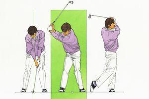 Three-panel illustration of golf swing