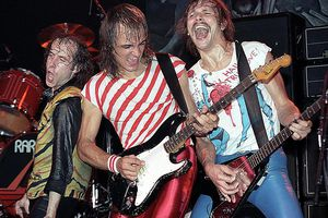 Klaus Meine, Mathis Jabs and Rudolph Schanker of Scorpions perform at Madison Square Garden March 19, 1984.