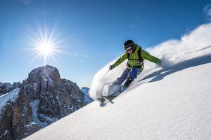 Man skiing off piste