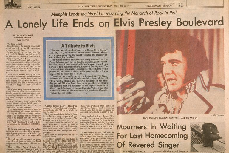 Newspaper Article on Elvis Presley's death