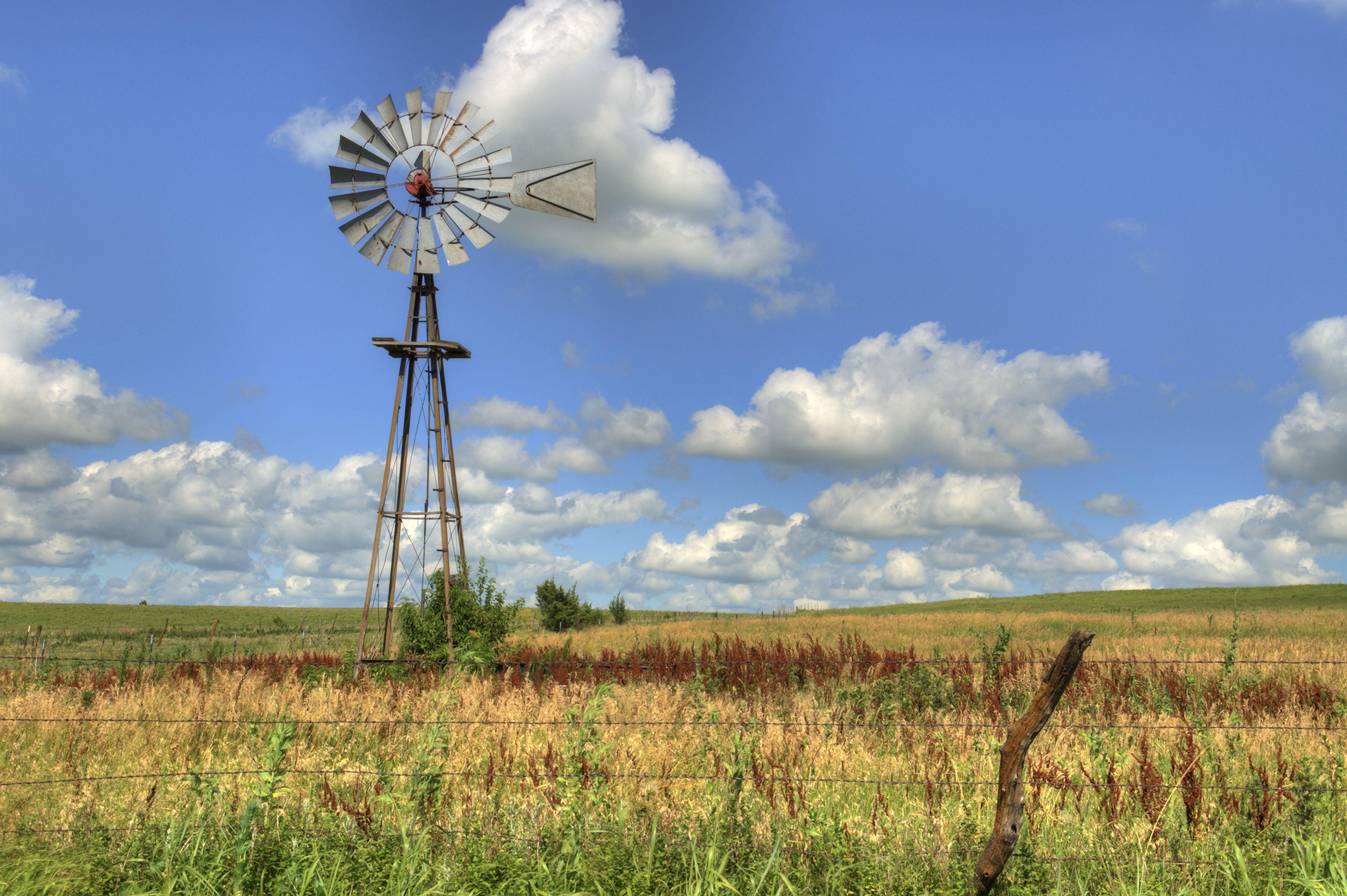 Windmill Landscape, Kansas, USA