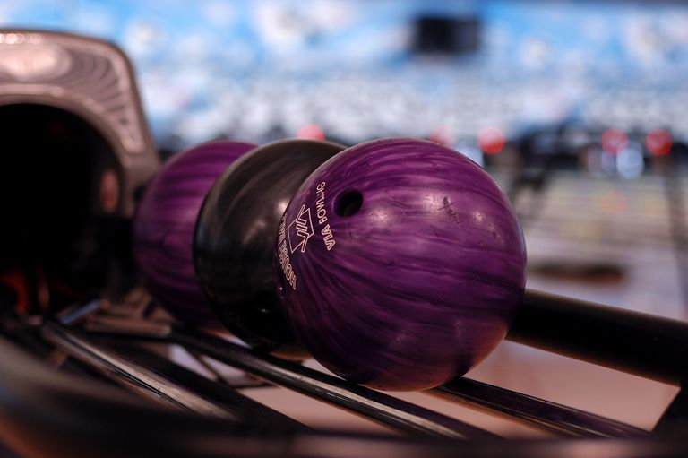 Bowling balls on the conveyor belt.