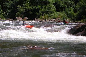 Kayaking in white river rapids
