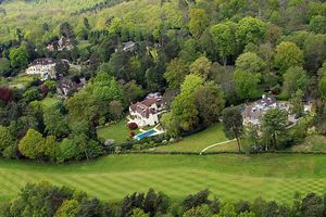 Aerial view of dogleg hole at Wentworth Club