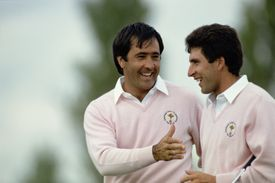 Seve Ballesteros and Jose Maria Olazabal shaking hands during a 1989 Ryder Cup four ball match
