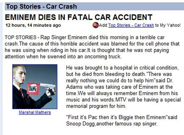 Eminem Dies in Fatal Car Accident