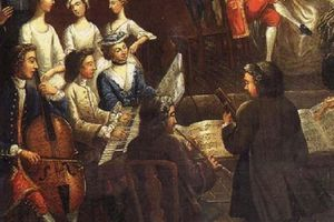 Full color painting of a classical music trio in the 18th century.