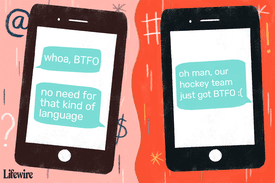 Illustrated example of how 'btfo' is used on two separate mobile devices.