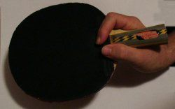 Front view illustrating finger placement of the RPB Penhold Grip