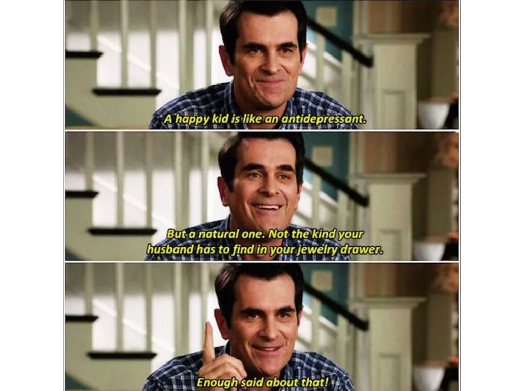 Three images of Phil Dunphy from Modern Family