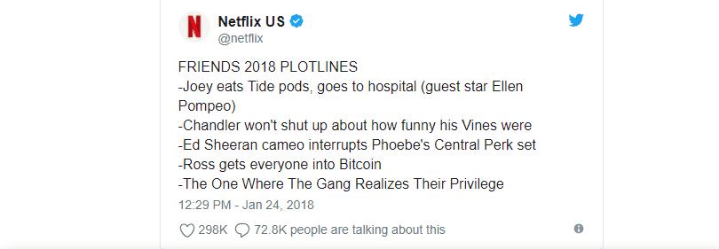 Friends 2018 plots meme