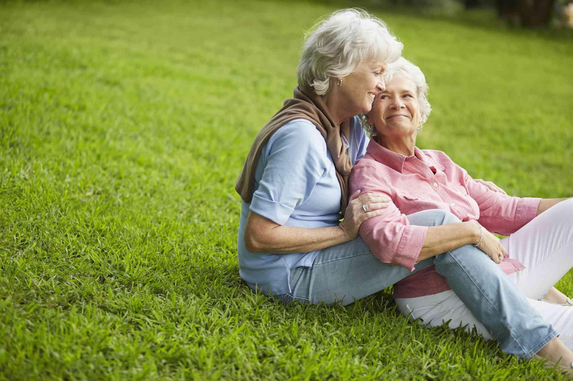 Elderly same-sex female couple sharing time