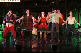 'Urinetown' cast singing on stage during Media Call - June 15, 2006