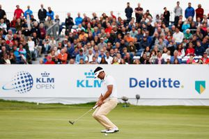 Lee Slattery reacts after missing a putt in the KLM Open tournament.