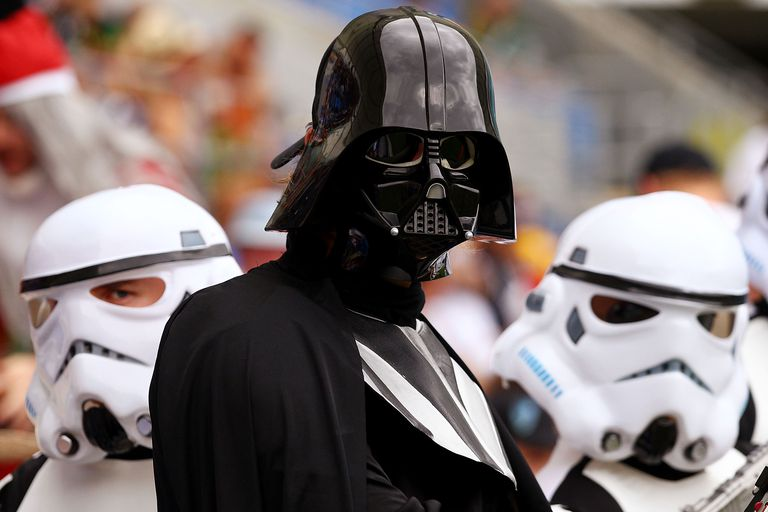 A man in a Darth Vader costume