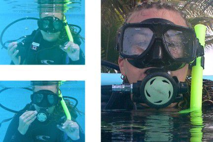 Diver exchanging the snorkel for the regulator