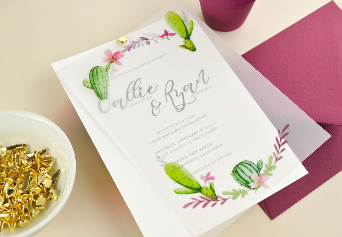 A free wedding invite with cactus