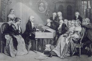 Engraving Wolfgang Amadeus Mozart at the piano
