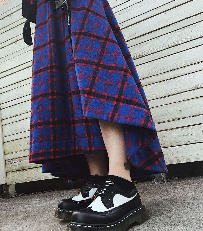 Blue checked maxi skirt with black and white Dr. Martens wingtips