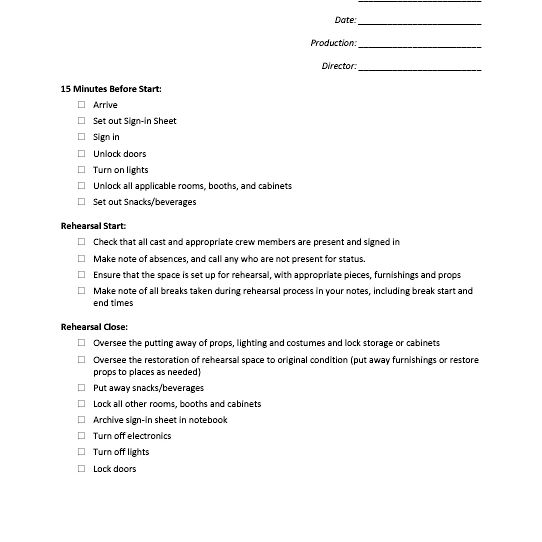 Stage Managers Forms Checklists To Sign In Sheets