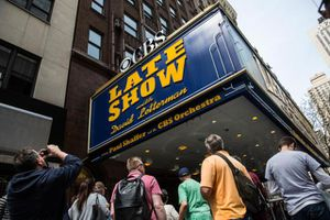 A photo of the David Letterman marquee outside his studio in New York City.