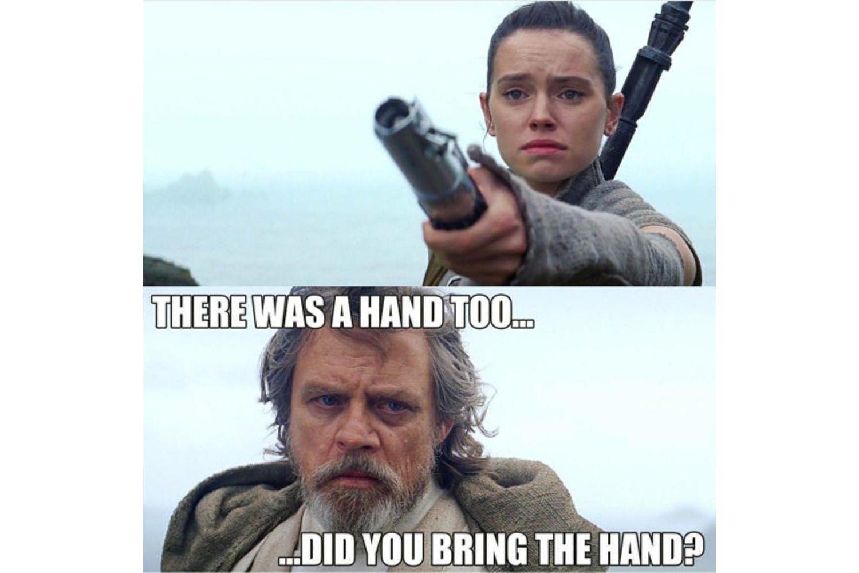 Blue lightsaber missing hand meme