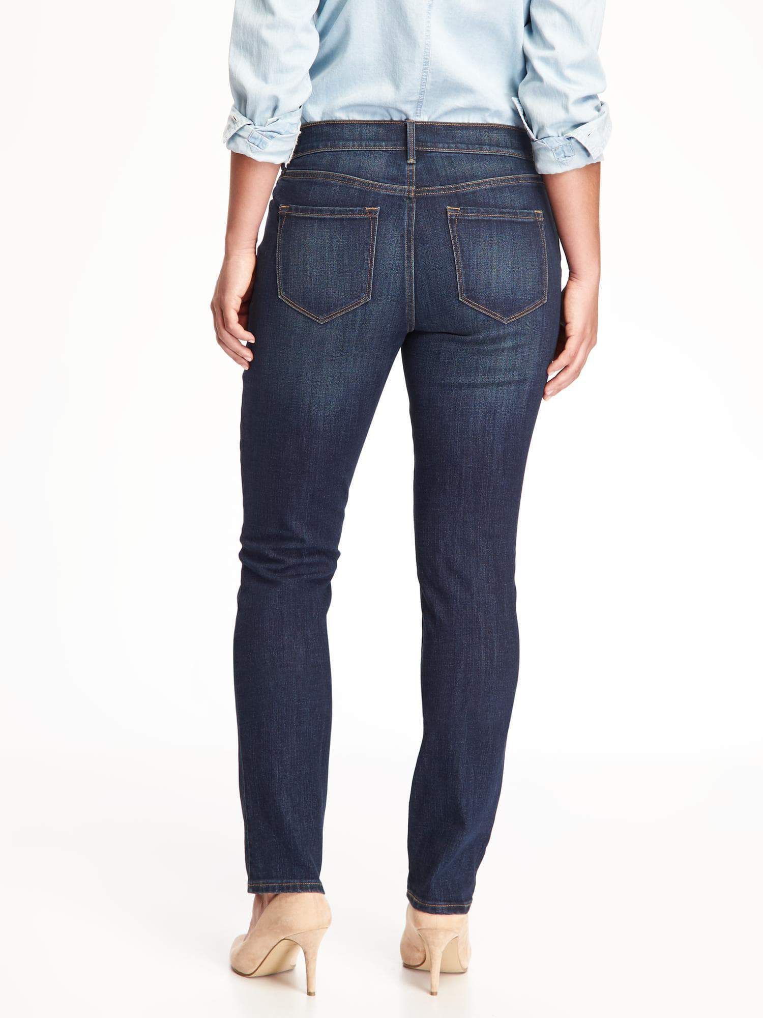 Jeans with back pockets that flatter wide buttocks