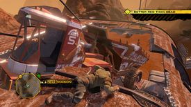 Red Faction: Guerrilla character crawling atop a massive construction machine