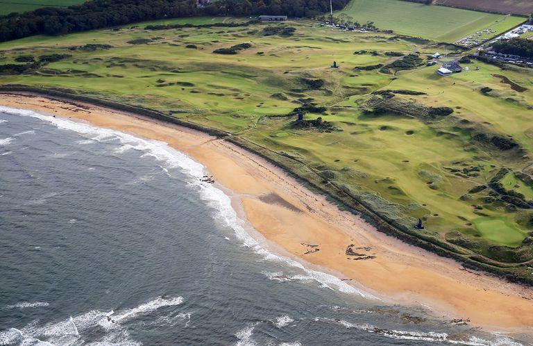 Aerial view of Kingsbarns links in Scotland