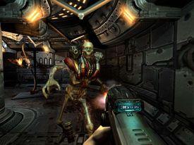 Skeleton monster and big gun in Doom 3