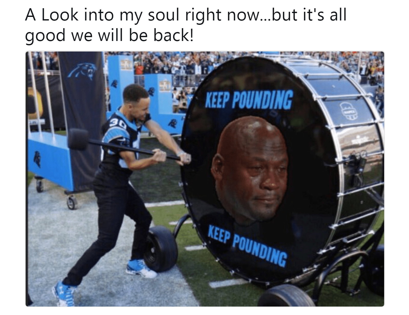 Steph Curry striking a drum with crying Michael Jordan's face on it