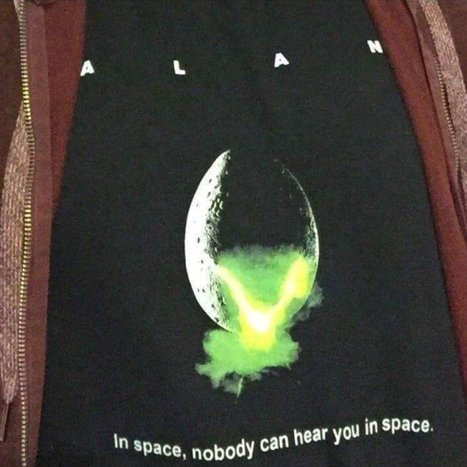 knock off tee shirt that says Alan instead of Alien