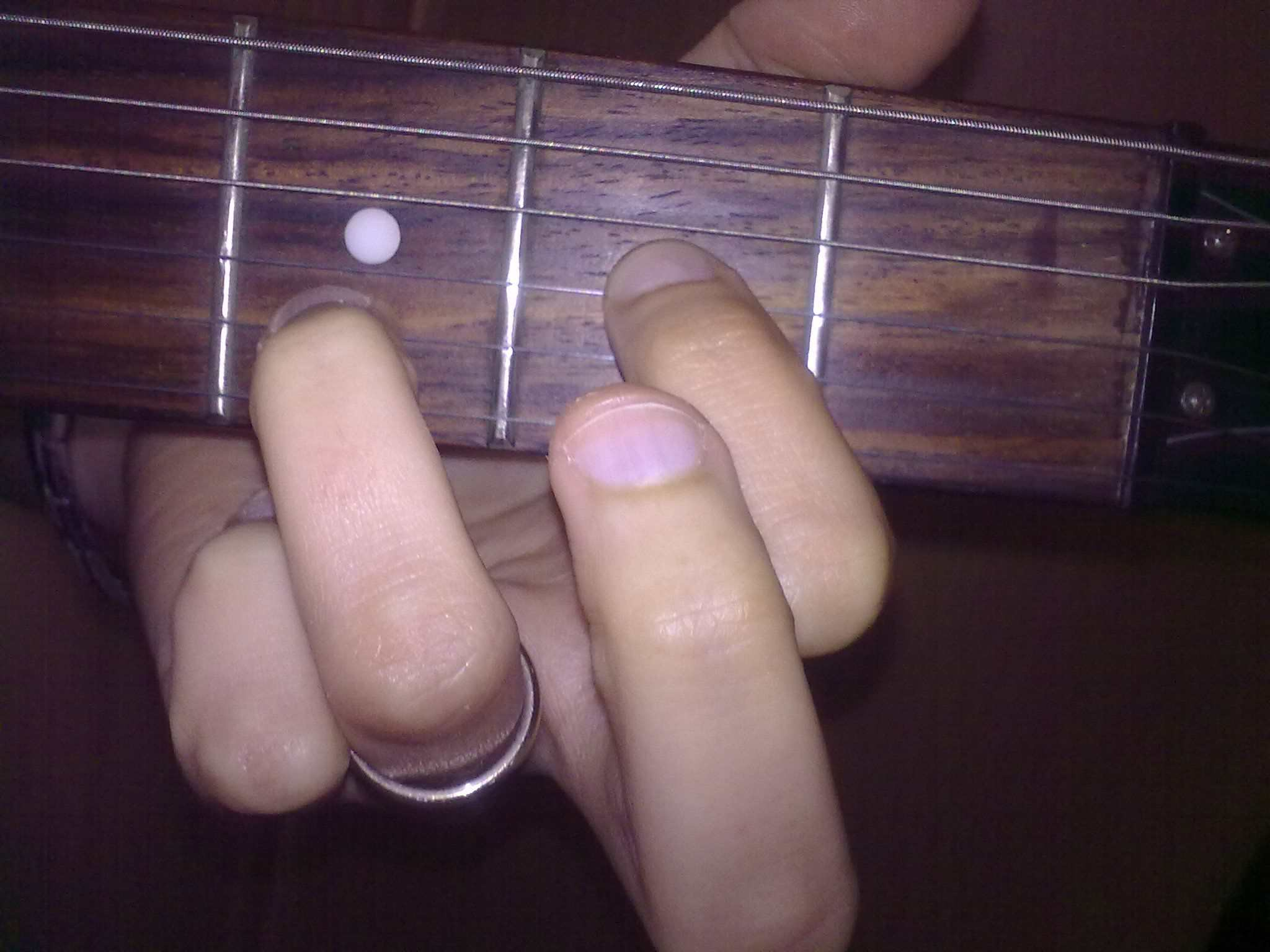 Guitar fingering needed to create the Dsus2 chord.